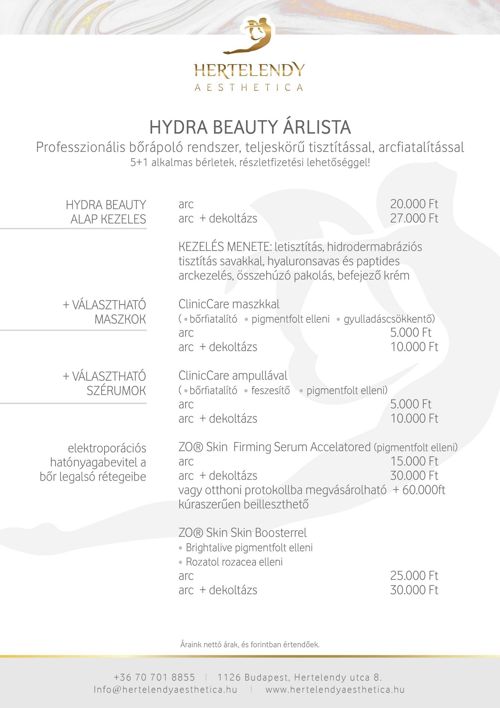 hydra beauty árlista