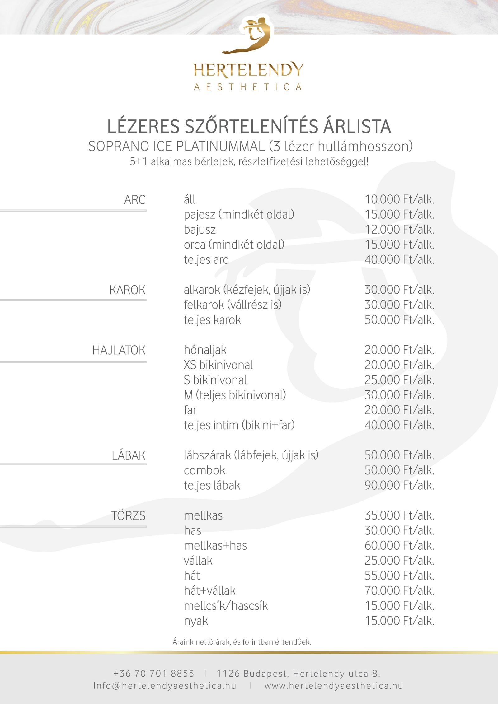 Lézeres szőrtelenítések árlista - Hertelendy Aesthetica